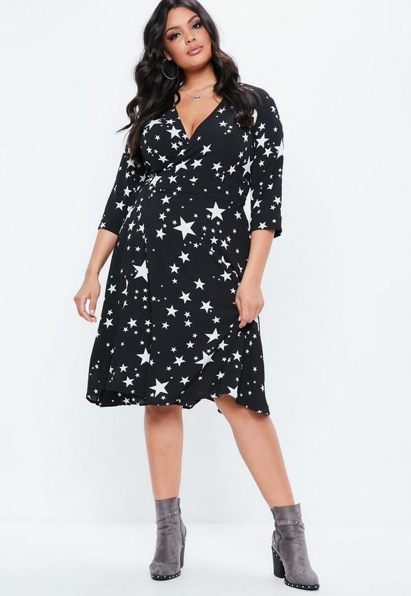 Curve Black Side Wrap Star Print Midi Dress by Missguided