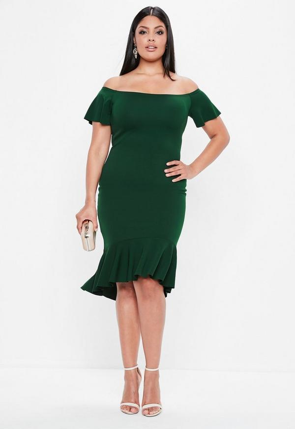 Curve Green Bardot Dip Kick Hem Bodycon Dress by Missguided