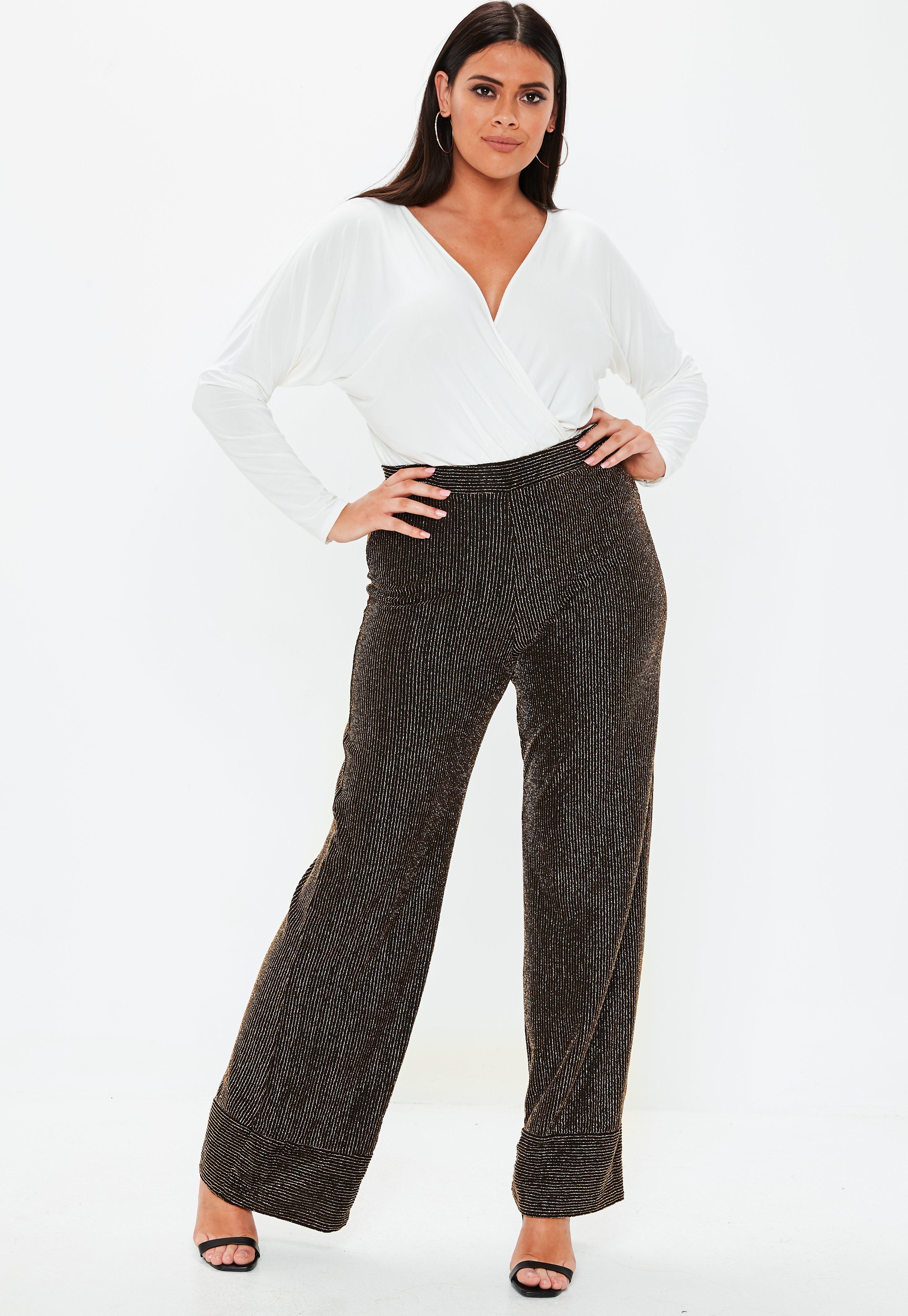 73cccea6fa3e64 Plus Size Black Glitter Wide Leg Trousers | Missguided