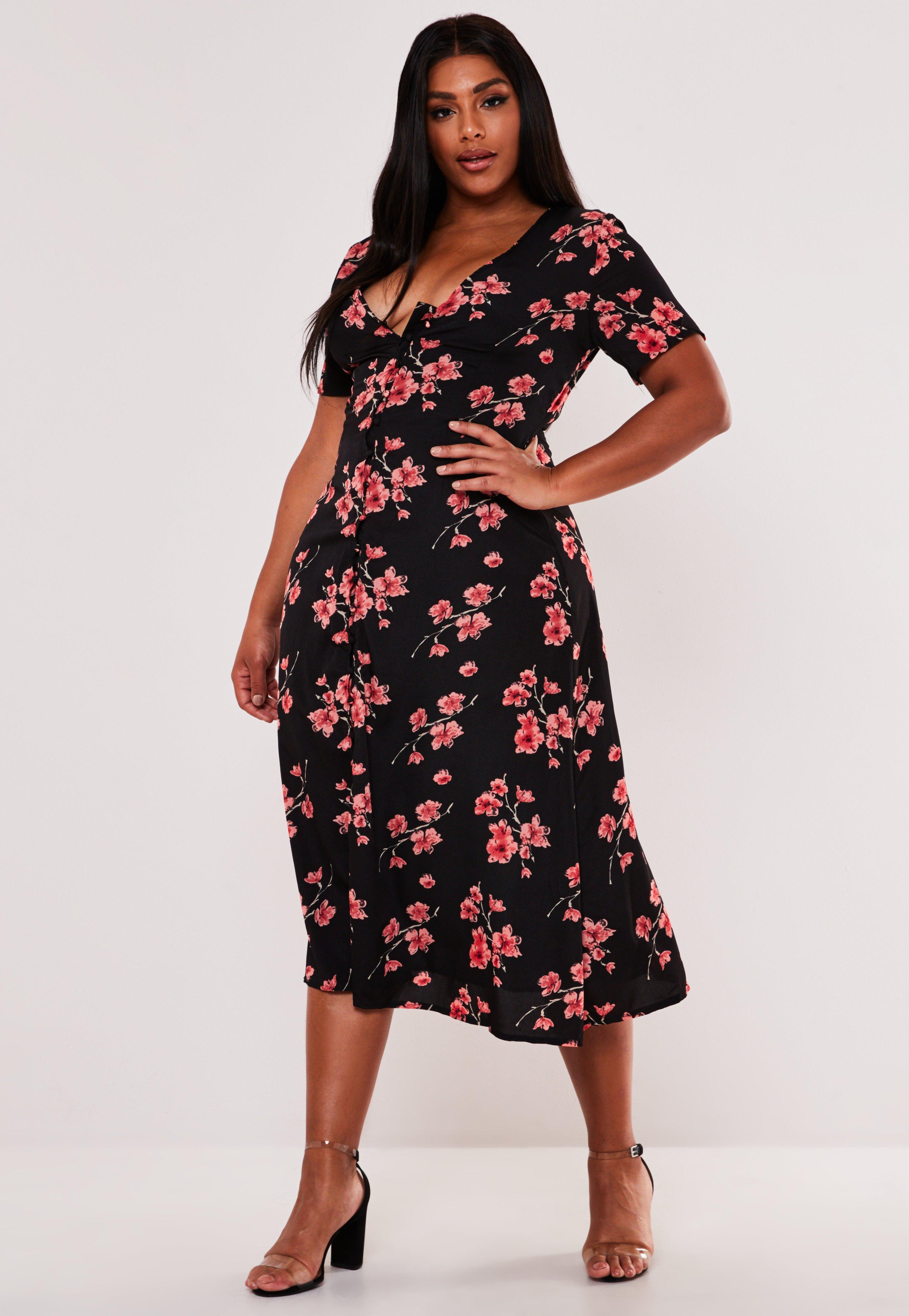 Plus Size Black Floral Print Button Front Midaxi Dress