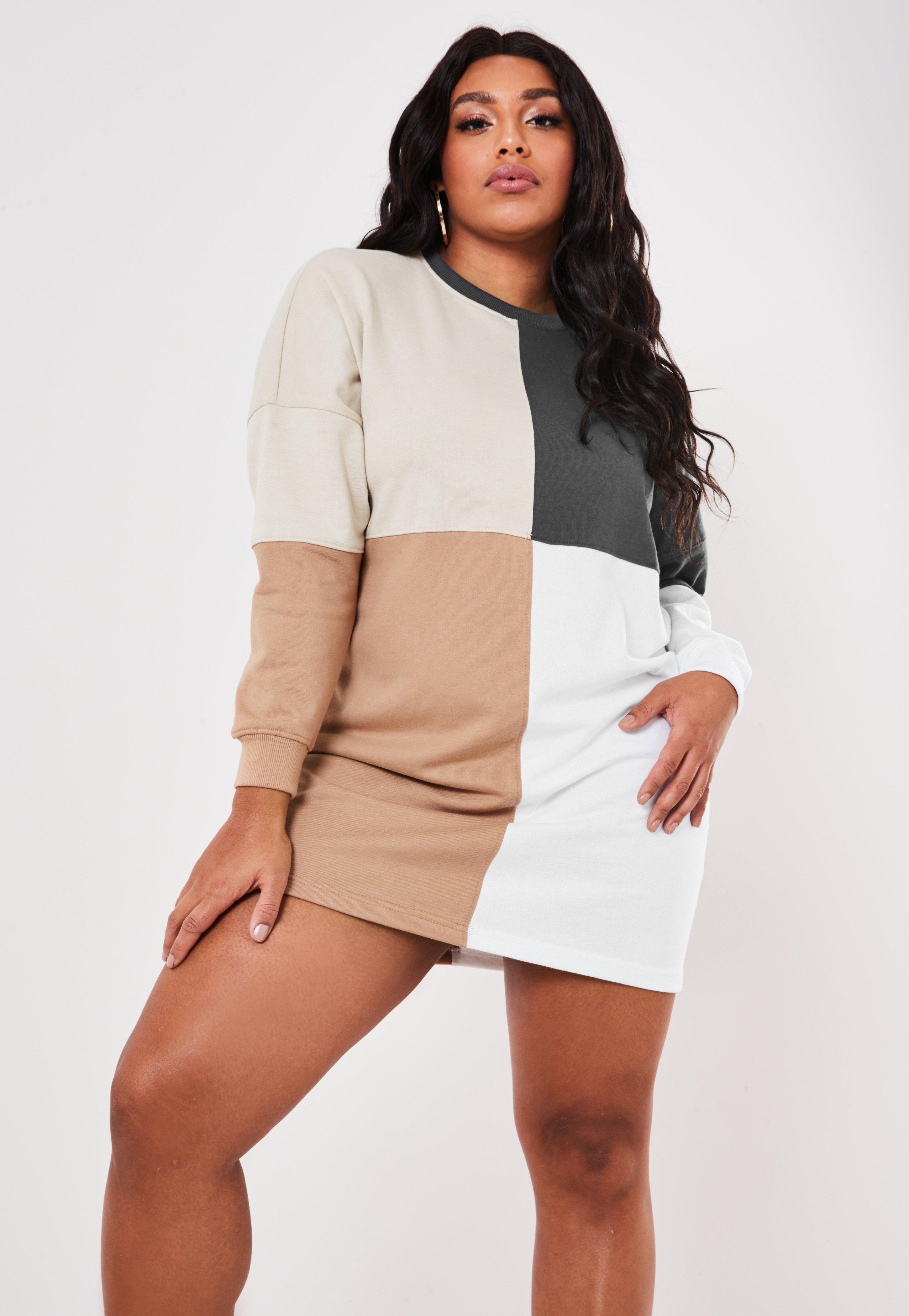 Plus Size Beige Colorblock Oversized Sweater Dress
