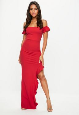 Tall Red Bardot Frill Maxi Dress