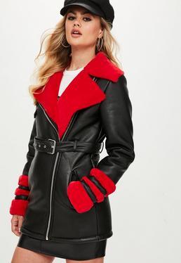Tall Black Faux Fur Longline Aviator Jacket
