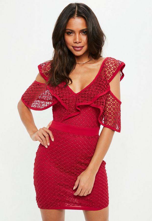 Product photo of Tall red layered lace cold shoulder mini dress red