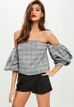 Tall Grey Bardot Checked Crop Top