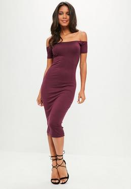 Tall Plum Bardot Jersey Bodycon Midi Dress