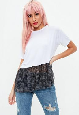 Tall White Jersey Spotted Mesh Top
