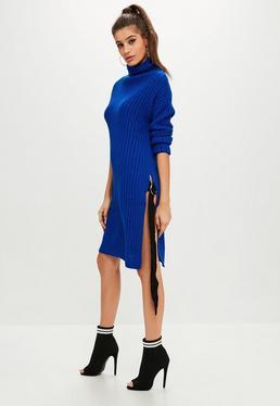 Vestido tall de punto con cuello alto en azul