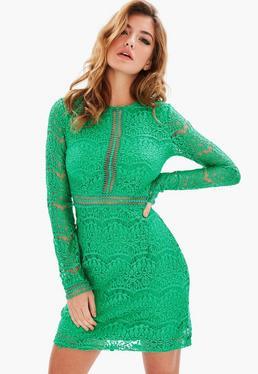 Tall Green Lace Mini Dress