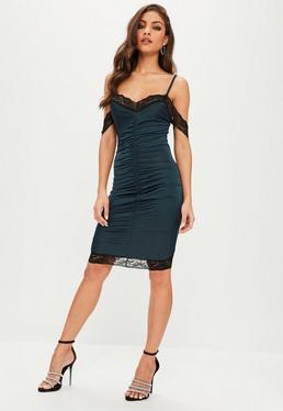 Tall Niebieska dopasowana sukienka z marszczeniami