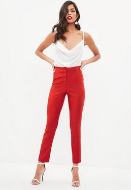 Tall Red Cigarette Trousers