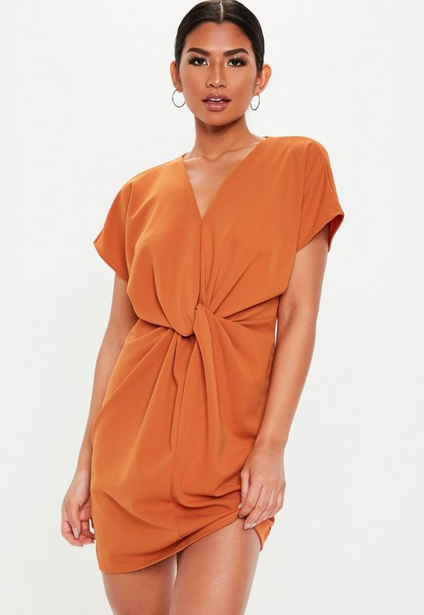 Tall Orange Knot Front Mini Shift Dress Missguided