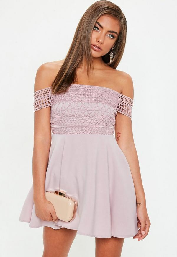 Petite Pink Lace Strap Bardot Skater Dress by Missguided
