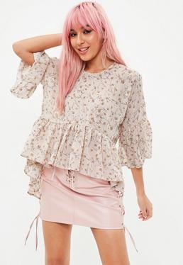 Pink Floral Print Smock Blouse