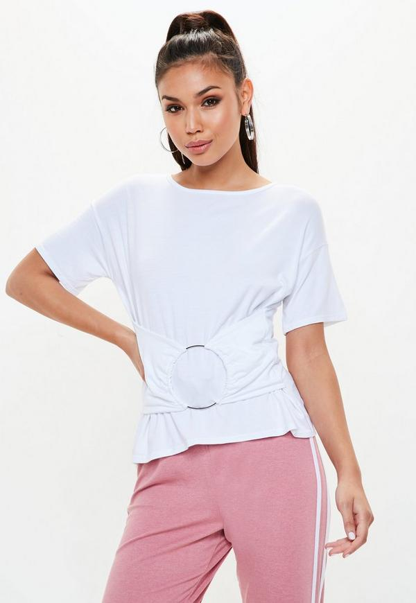 petite white plain t shirt missguided