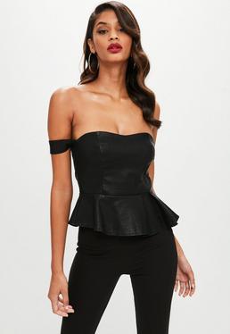 Black Faux Leather Bardot Peplum Top