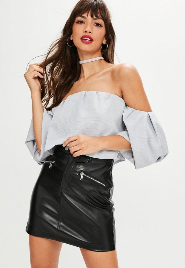 Petite Gray Bardot Puff Sleeve Crop Top