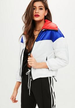 Petite White Colour Block Padded Jacket