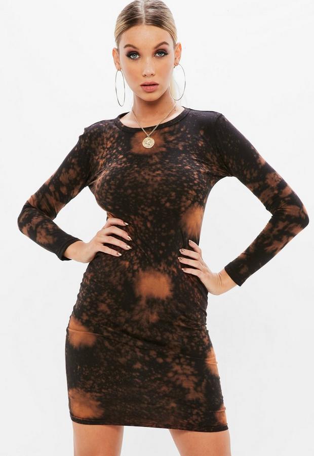 petite black acid wash long sleeve bodycon dress
