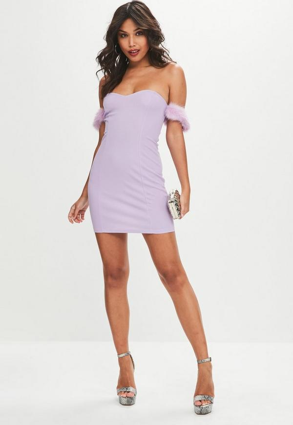 Lilac Fluffly Strap Mini Dress - unidays | Missguided