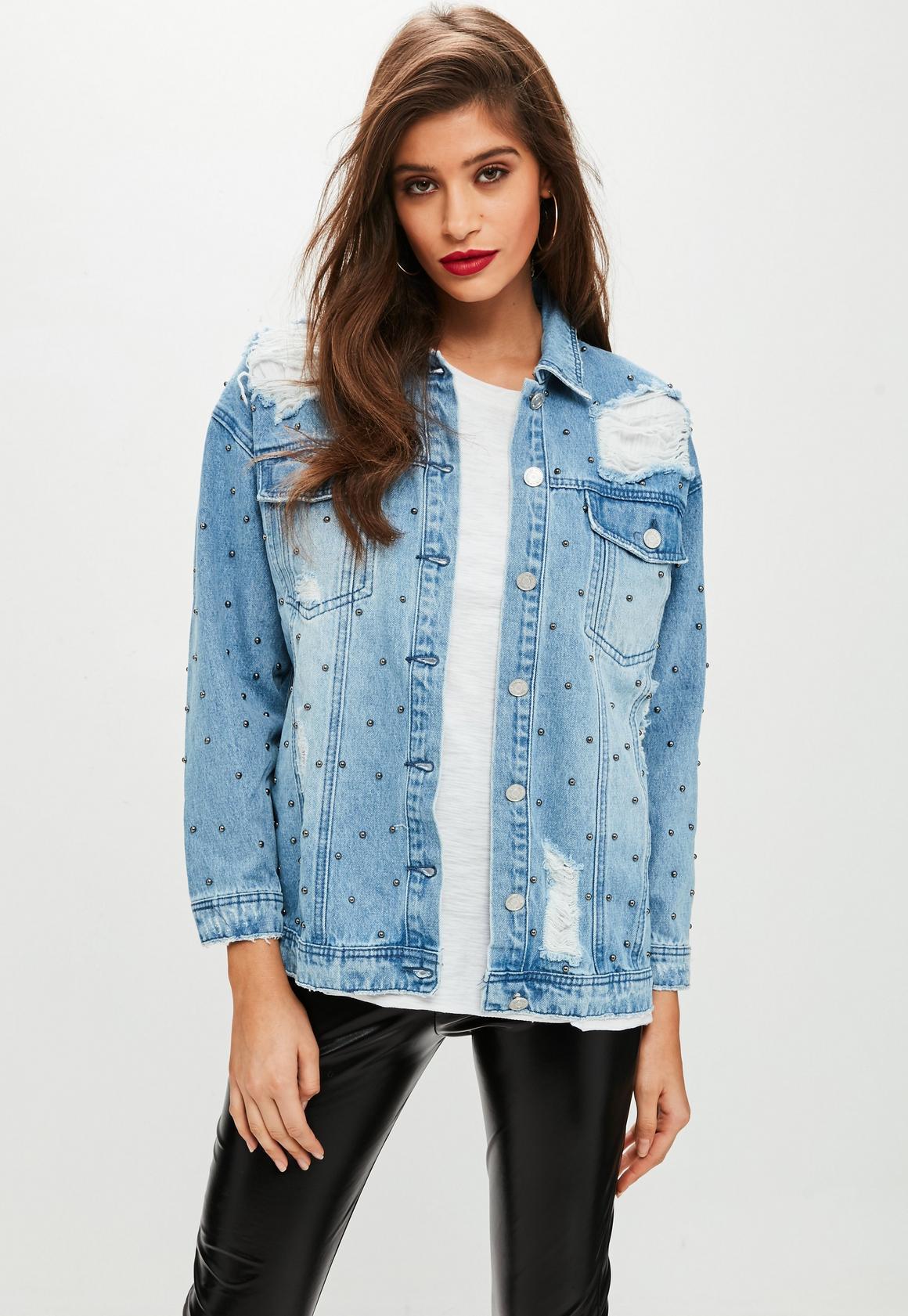 Petite Blue Studded Denim Jacket   Missguided
