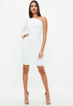 Petite White Fold Over One Sleeve Dress