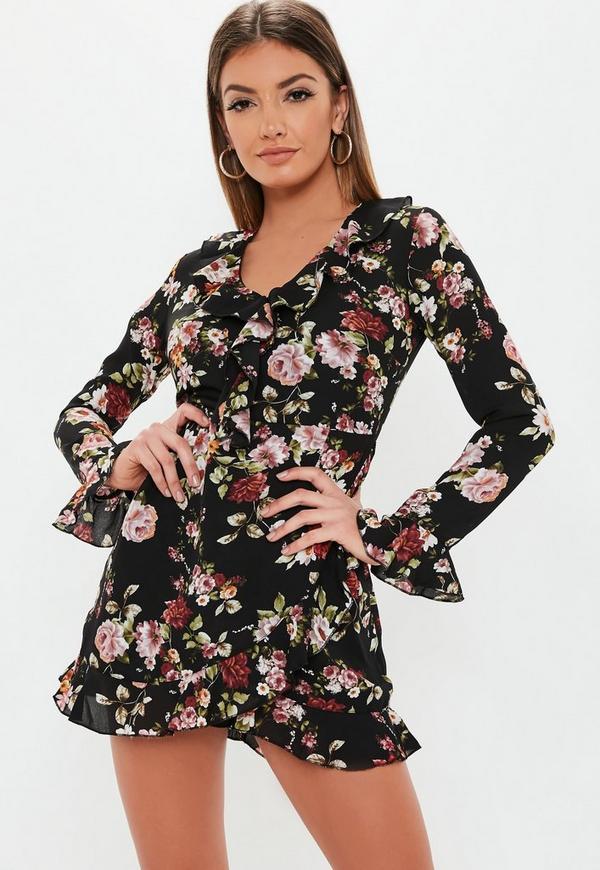 ... Petite Black Floral Print Frill Tea Dress. Previous Next ccfe2a7d5