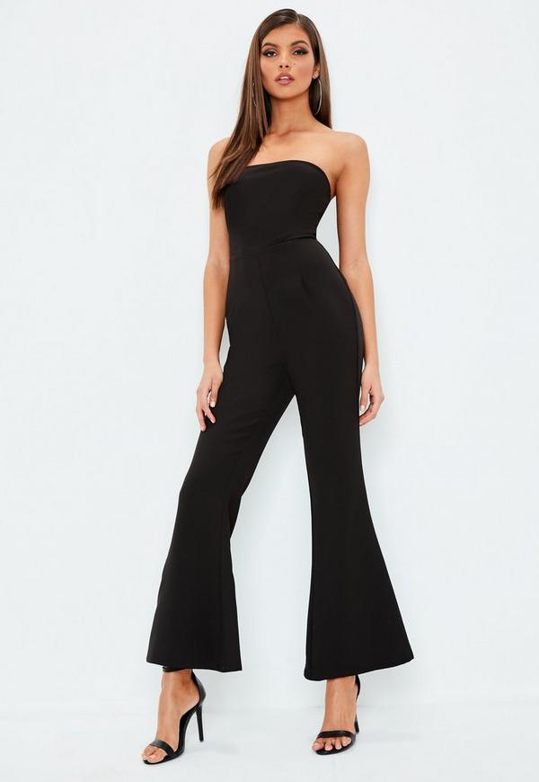 Petite black bandeau flared leg jumpsuit