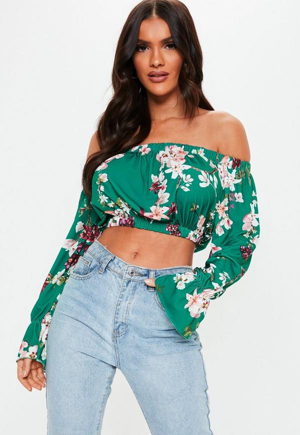 Petite Green Floral Printed Crop Top
