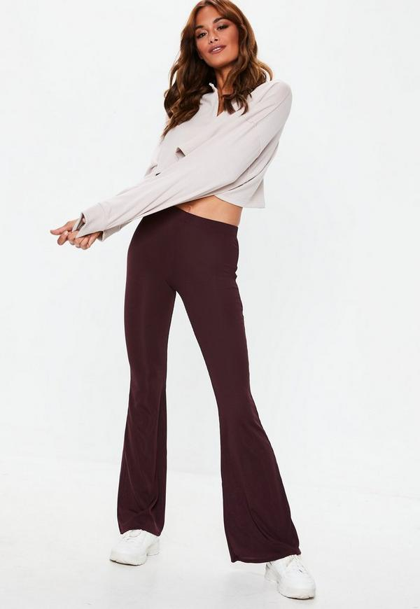 Petite Purple Jersey Ribbed Kick Flare Pants