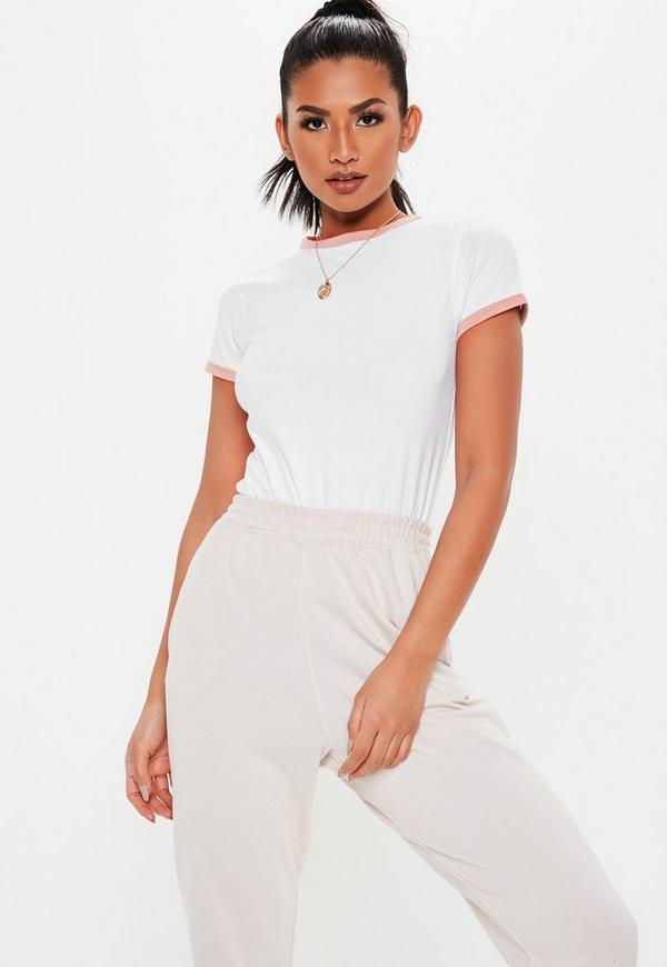 Petite White Contrast Trim T Shirt by Missguided