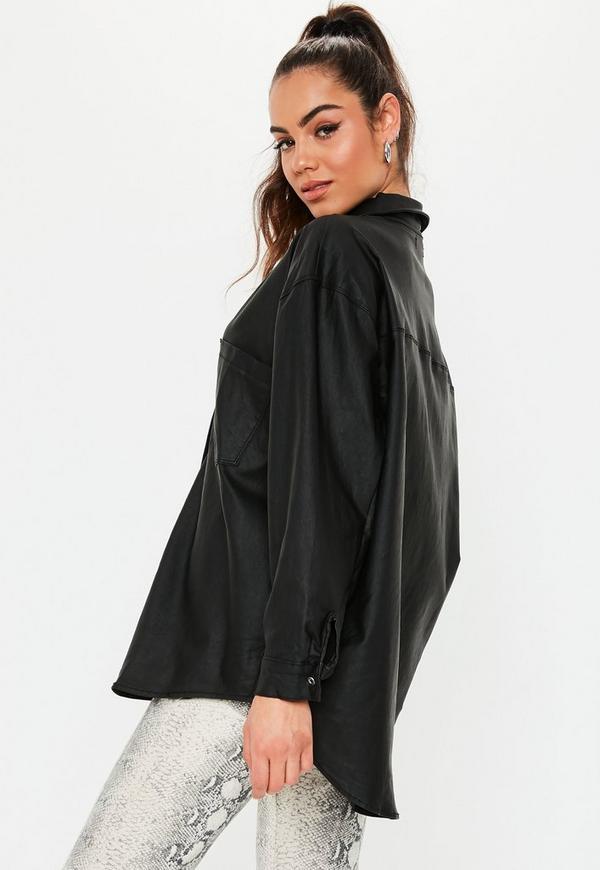 Petite Black Oversized Coated Denim Shirt