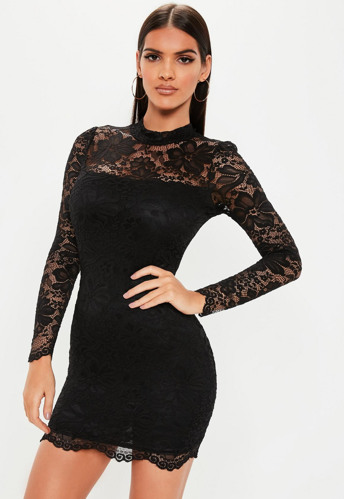 b4c0f64c0 Petite Black High Neck Long Sleeve Lace Midi Dress. Hover to Zoom. Hover to  Zoom
