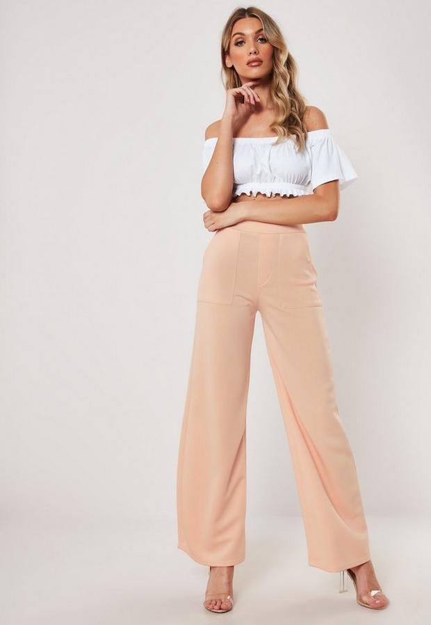 petite pink contrast stitch pants