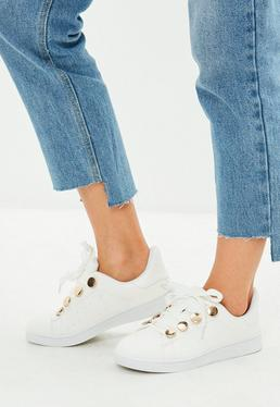 White Eyelet Detail Trainers