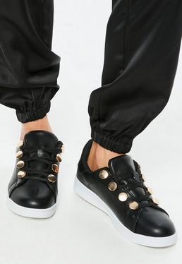 Black Gold Disc Eyelet Trainers