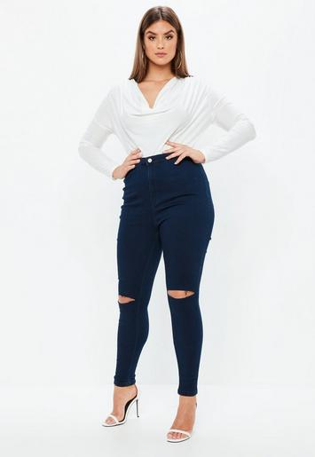 plus size blaue vice skinny jeans mit ripped knie missguided. Black Bedroom Furniture Sets. Home Design Ideas