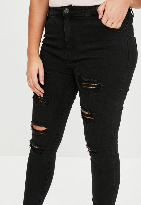 Curve Black Sinner High Waisted Extreme Rip Jeans by Missguided