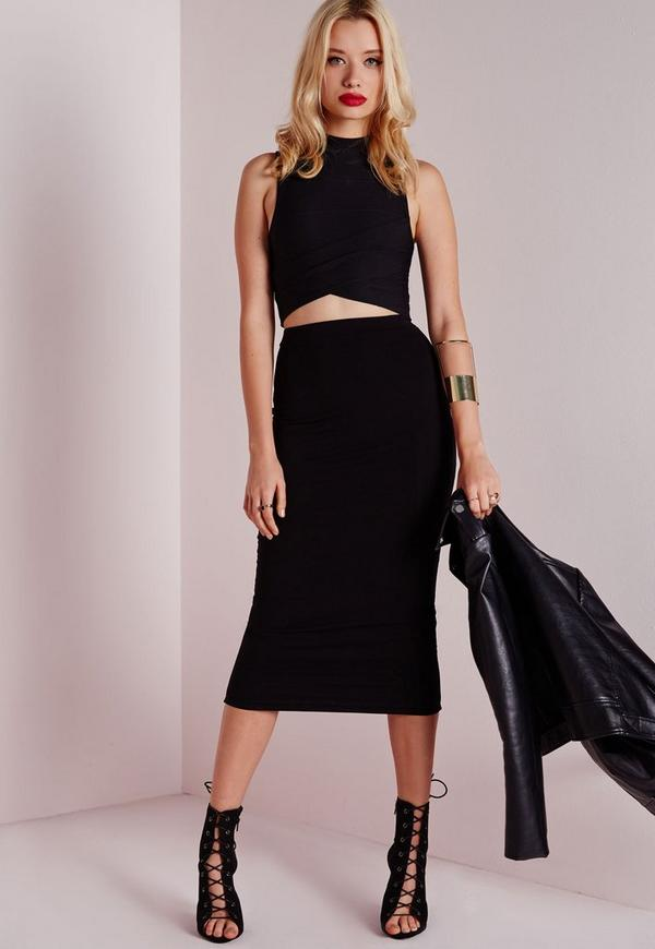 Tall Longline Jersey Midi Skirt Black