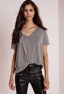 T-shirt boyfriend gris col en V Tall