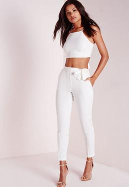 Tall Tie Belt Crepe High Waist Trousers White