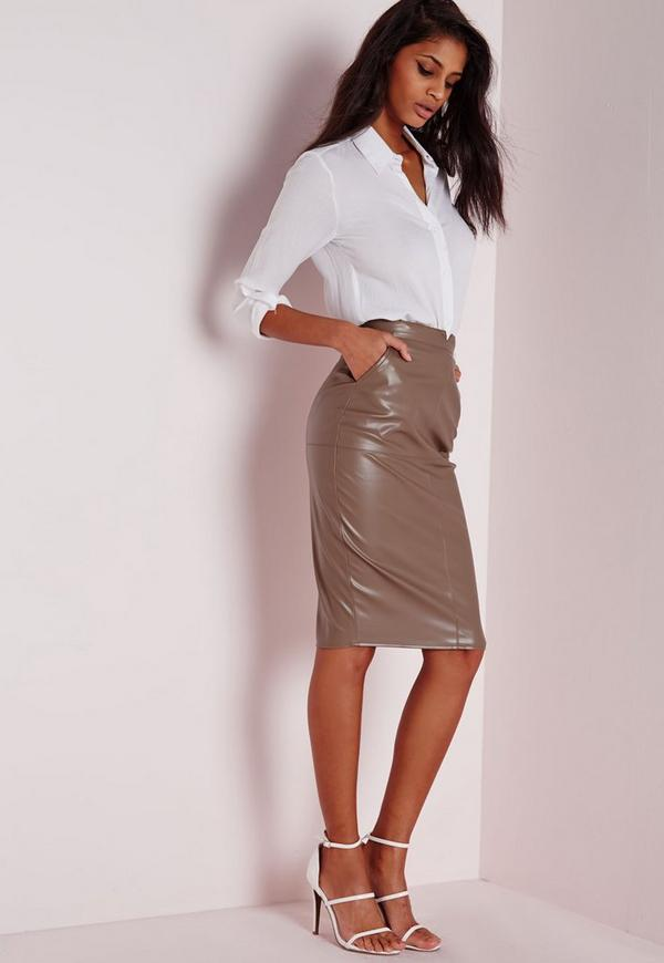 Tall Back Split Faux Leather Midi Skirt Taupe