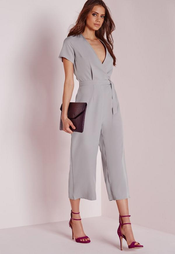 Tall Exclusive D-Ring Culotte Jumpsuit Grey