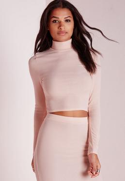 Tall High Neck Ribbed Crop Top Nude