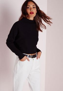 Tall Raw Edge Funnel Neck Sweater Black