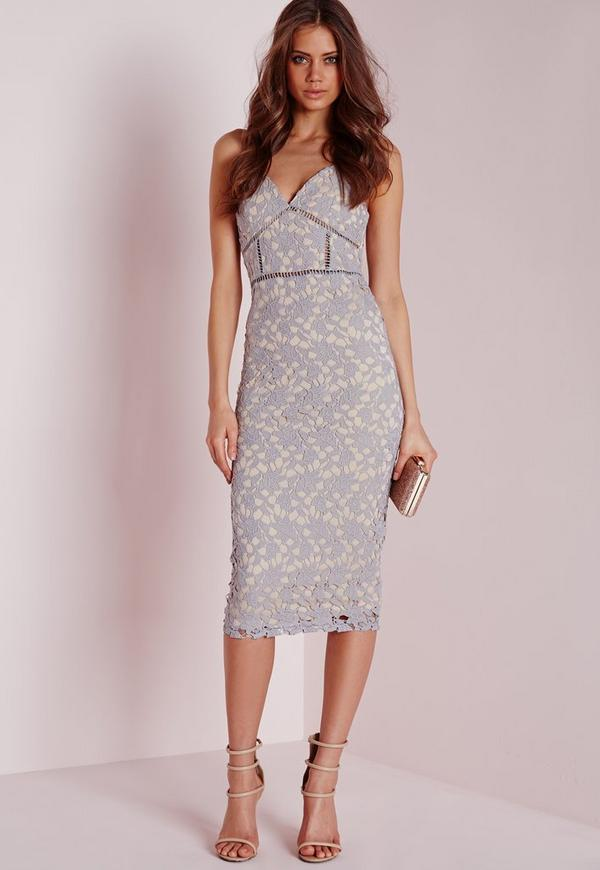 Tall Exclusive Strappy Lace Midi Dress Grey Missguided