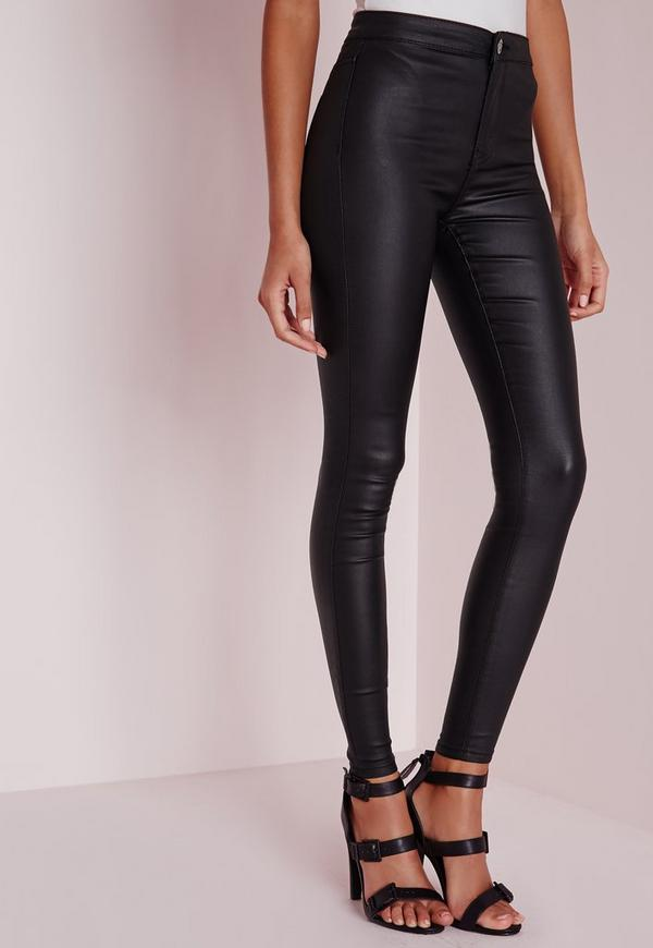 Black high waisted wet look jeans