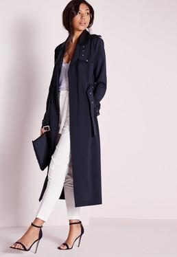Tall Exclusive Military Trench Coat Navy