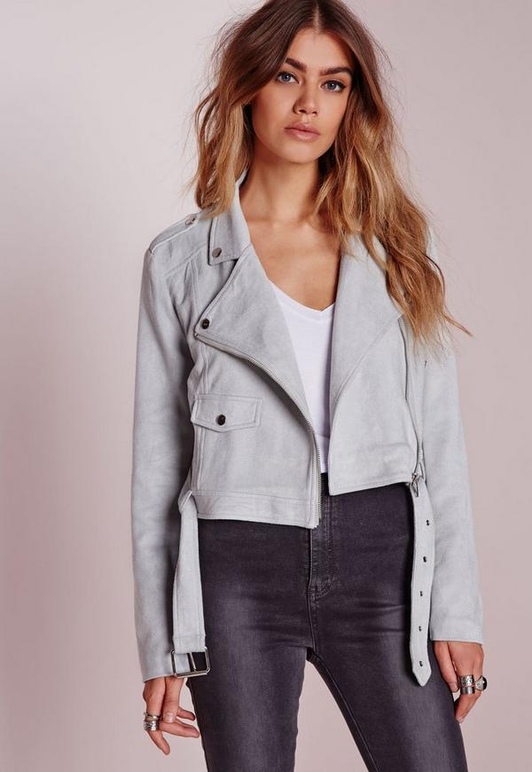 Tall Faux Suede Biker Jacket Grey
