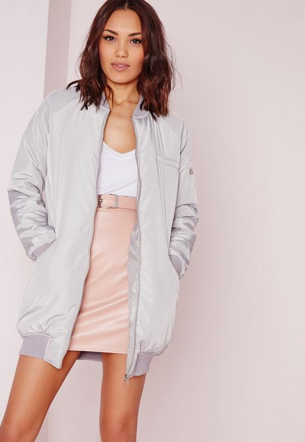 Tall Longline Padded Bomber Jacket Grey